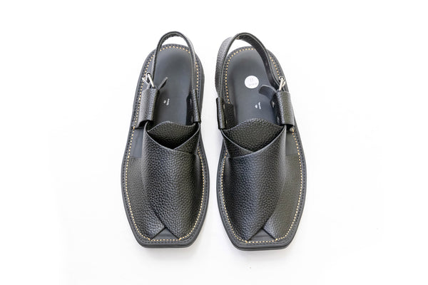 Black Aniline Leather Peshawari Chappal - Sandals - Men's - South Asian Fashion & Unique Home Decor