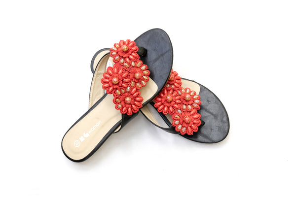 Red Floral Flip Flop - Sandals - Gul Ahmed Women's Footwear