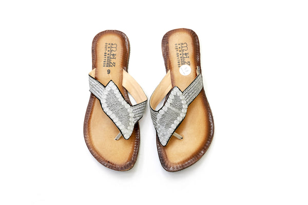 Bejeweled Silver Leather Chappal- Sandals- Women's - South Asian Fashion & Unique Home Decor
