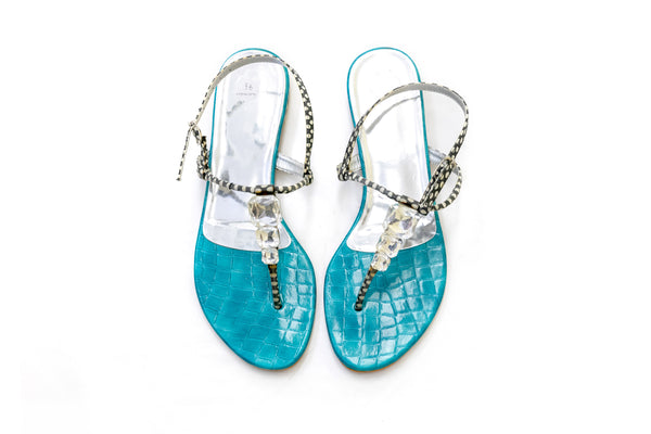 Blue Reptile Sandals - South Asian Fashion & Unique Home Decor