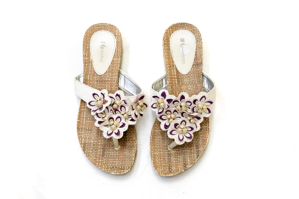 White Floral Flip Flop - Sandals - Women's - South Asian Fashion & Unique Home Decor