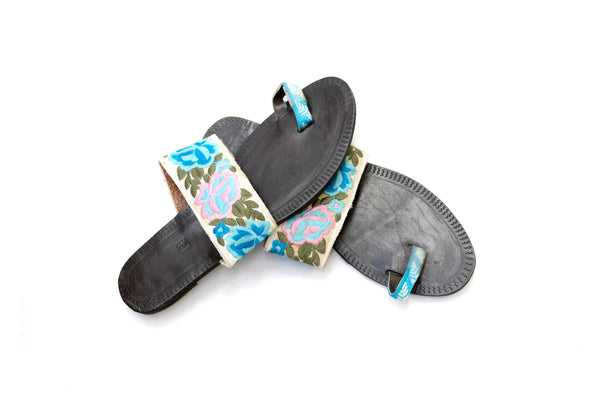 Black Floral Chappal - Sandals - Women's - South Asian Fashion & Unique Home Decor