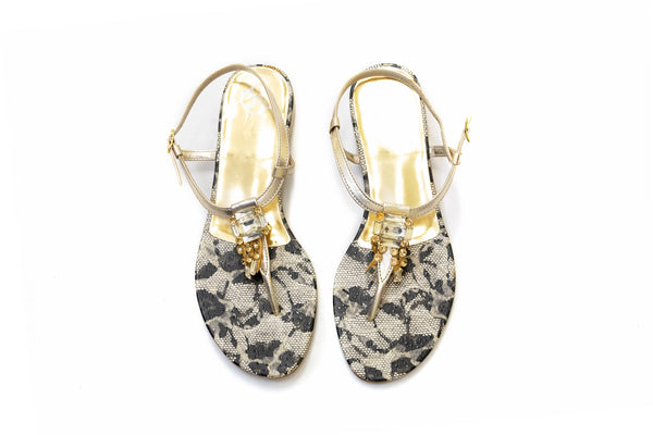 Silver & Gold Bejeweled Sandals - Women's Shoes - South Asian Fashion