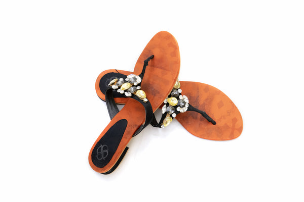 Black Bejeweled Flip Flops - Sandals - Women's - South Asian Fashion & Unique Home Decor