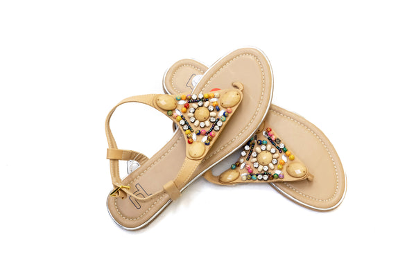 Beige Beaded Sandals - Women's - South Asian Fashion & Unique Home Decor