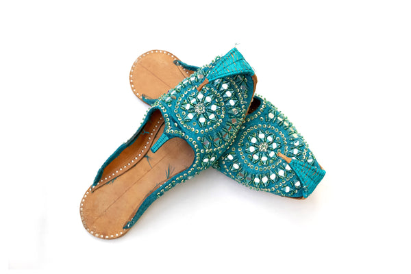 Teal Dulha Khussa - Shoes - Women's - South Asian Fashion