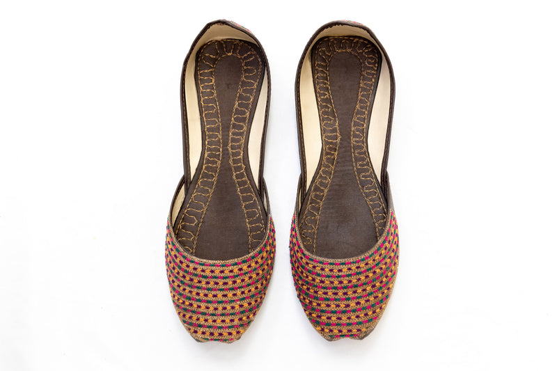 Brown Embroidered Jutti Khussa - Shoes - Women's - South Asian Fashion