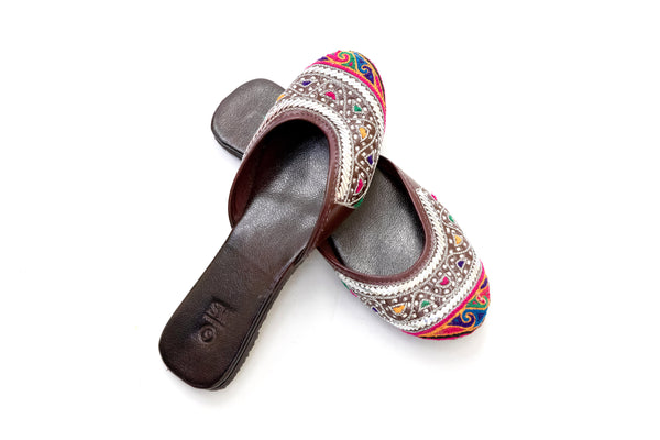 Leather Embroidered Jutti Khussa -Shoes- Women's South Asian Fashion