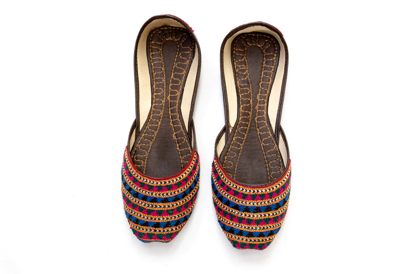 Festive Maroon Flats - Khussa - Women's Shoes - South Asian Fashion