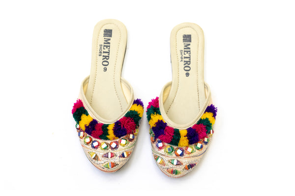 Festive Creme Khussa - Sandals - Women's Footwear- South Asian Fashion