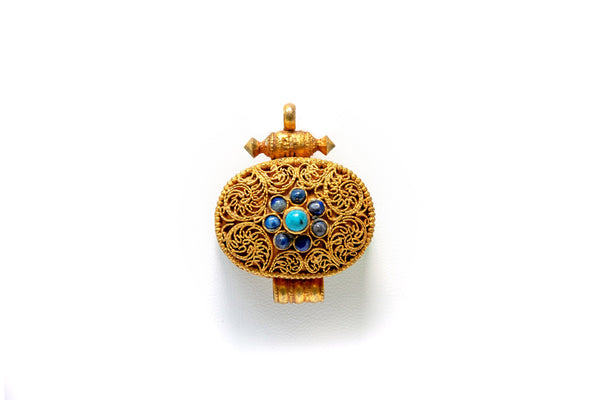 Gold Pendant With Blue Center Stones - South Asian Ethnic Jewelry