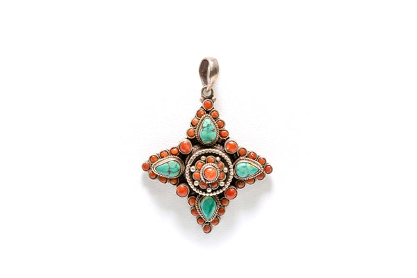 Silver Pendant with Turquoise and Orange Stones - South Asian Fashion & Unique Home Decor
