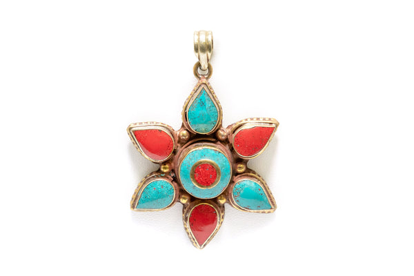 Blue and Red Star Pendant  - South Asian Fashion & Unique Home Decor