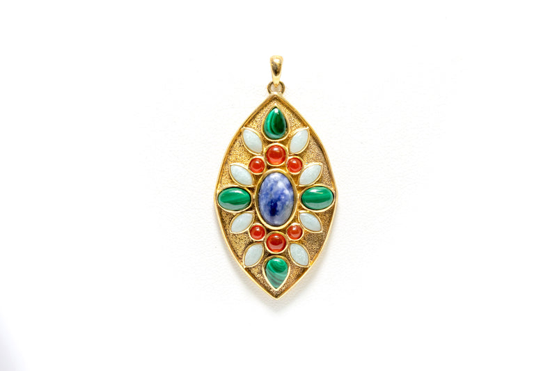 Gold Plated Pendant with Beautiful Colored Gems - South Asian Fashion & Unique Home Decor