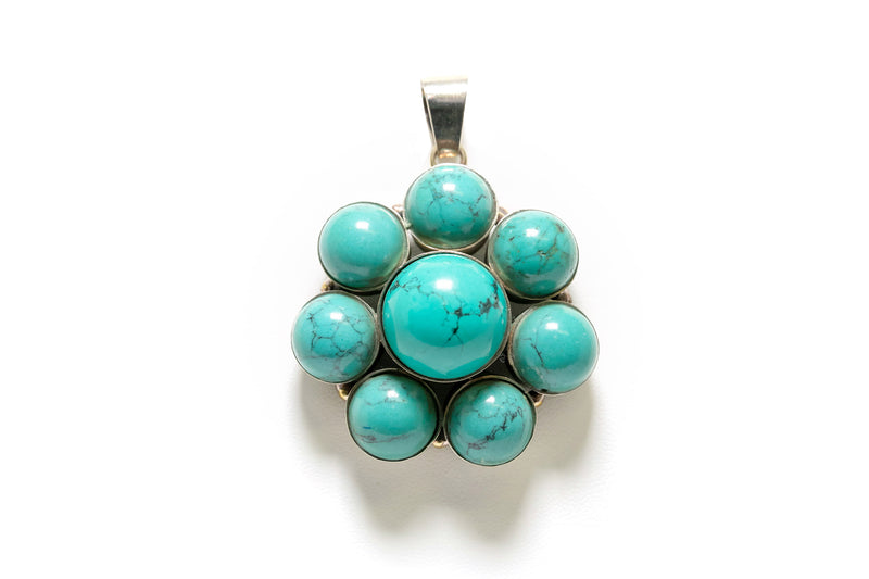 Round Turquoise Pendant - South Asian Jewelry