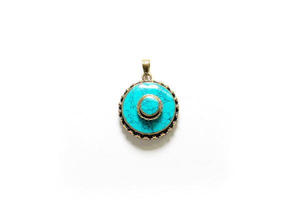 Hand Crafted Round Turquoise Pendant - South Asian Jewelry
