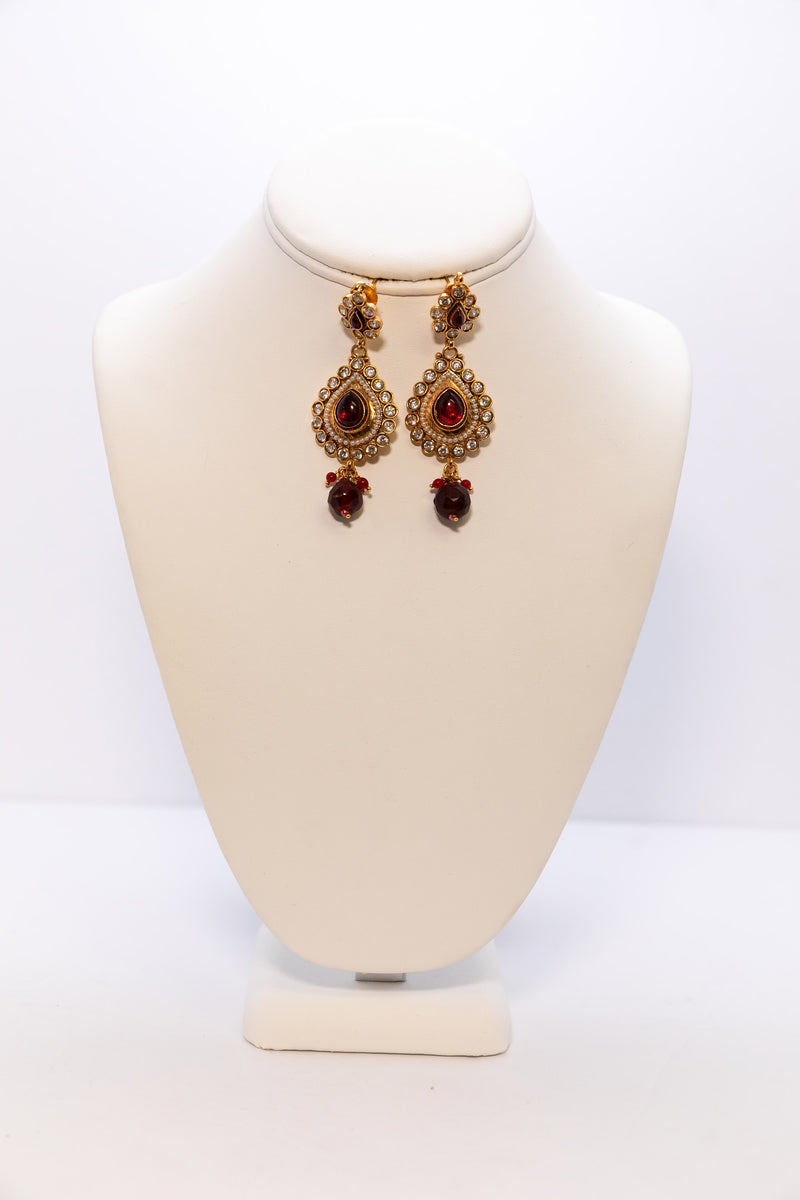 Three Tier Golden Earrings with Red Stones - Indian Dangle Earrings