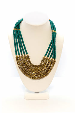 Turquoise & Brass Beaded Necklace - Traditional South Asian Jewelry