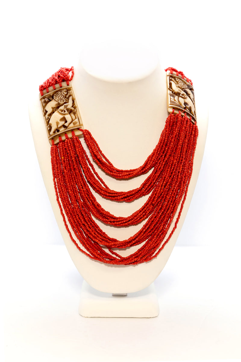 Orange Beaded Statement Necklace - South Asian Jewelry