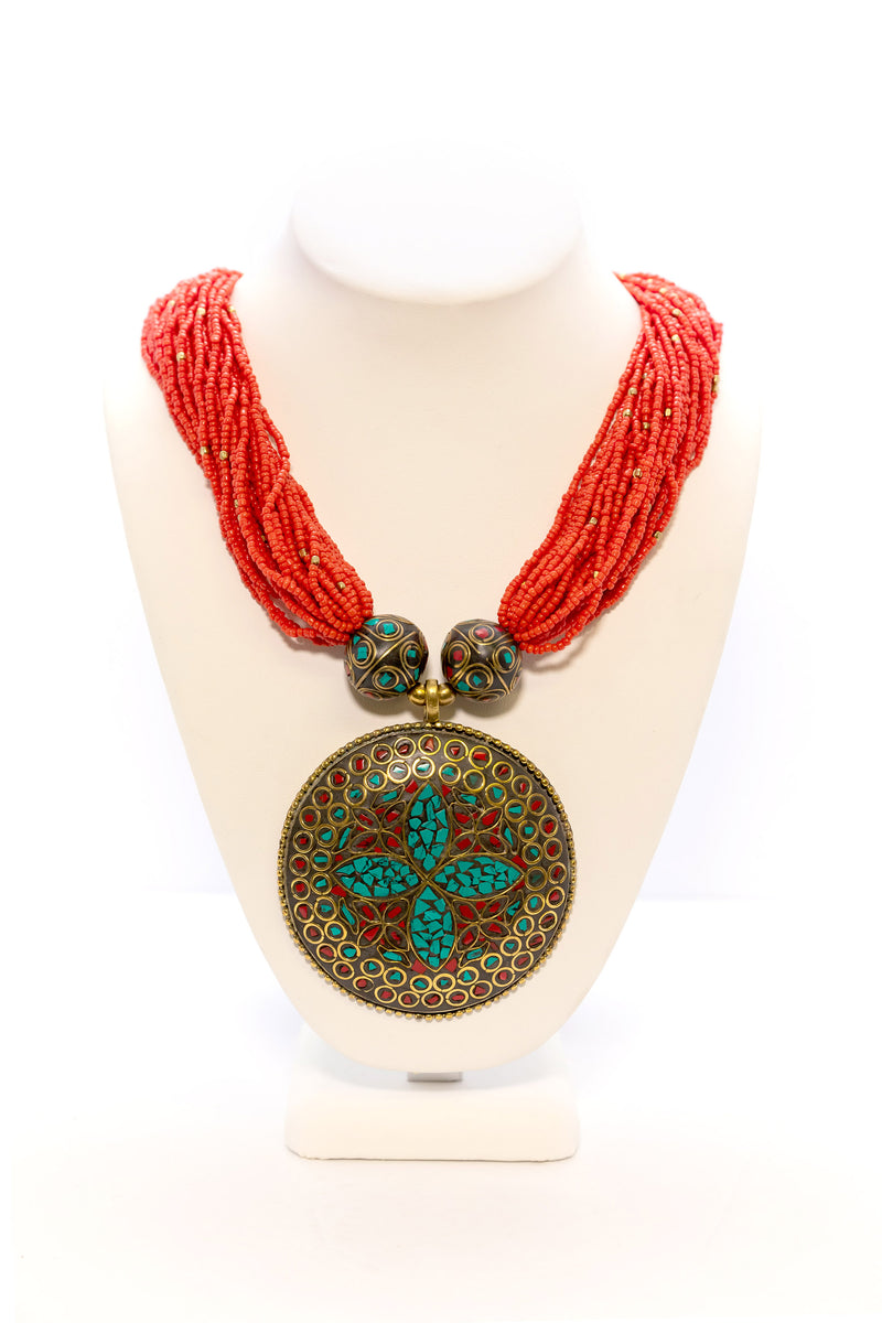 Red Beaded Necklace with Large Pendant - South Asian Fashion & Unique Home Decor