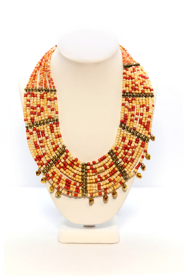 Orange & Red Beaded Statement Necklace - Nepal Jewlery  - South Asian Jewelry and Accessories