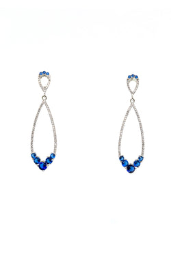 Silver Dangle Earrings with Sapphire Stones - South Asian Jewelry