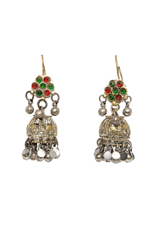 Silver Dangle Earrings - Multi Color Stones - South Asian Jewelry