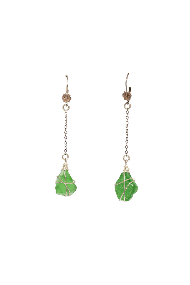 Green Glass Dangle Earrings - South Asian Fashion & Unique Accessories
