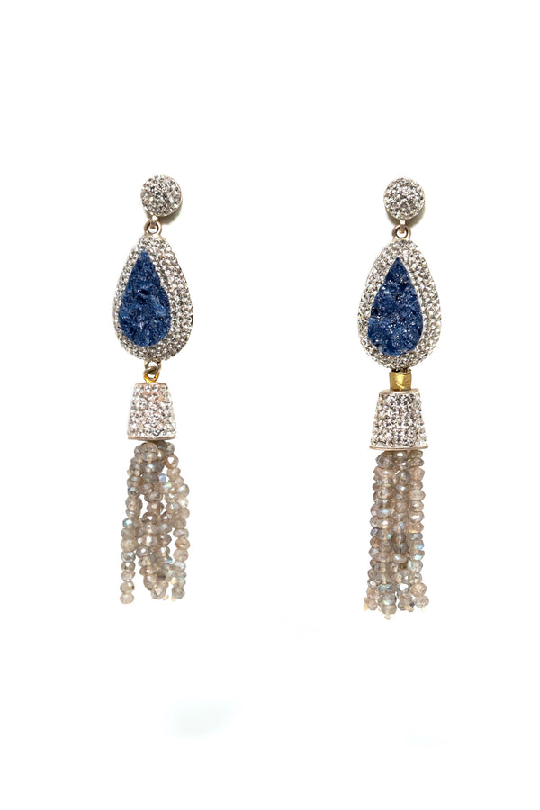 Turkish Silver Blue Gemstone Dangle Earrings - South Asian Jewelry