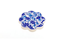 Blue Floral Painted Turkish Ceramic Coaster - Handmade Home Decor
