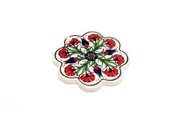 Red Floral Hand-painted Coaster - Unique South Asian Home Decor