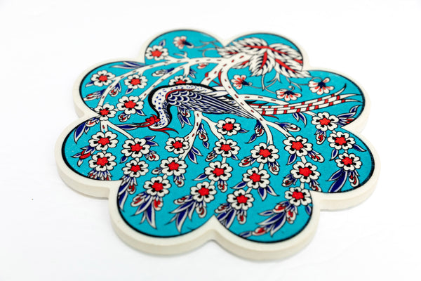Turquoise Turkish Ceramic Coaster - Unique South Asian Home Decor