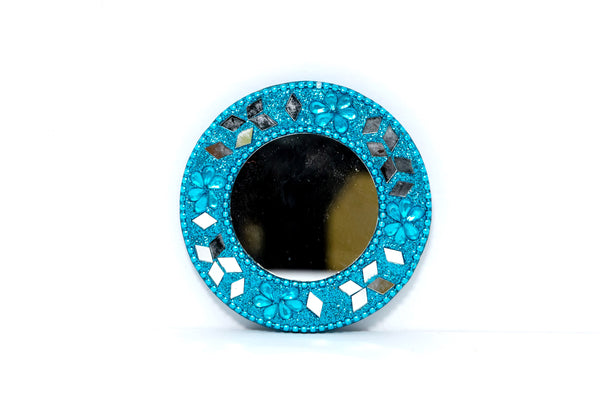 Miniature Teal Blue Mirror - Handmade Accessories & Unique Home Decor