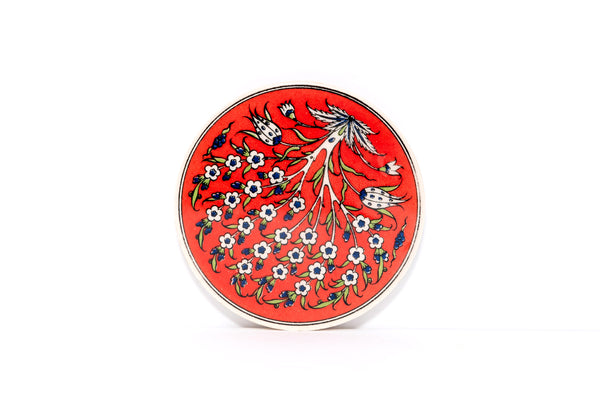 Red Floral Ceramic Coaster - Unique South Asian Home Decor