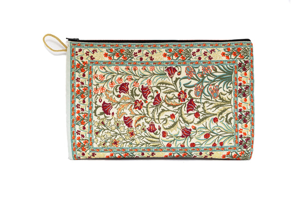 Beige Cotton Silk Embroidered Pouch - Bag - South Asian Accessories