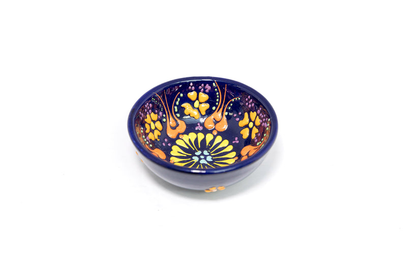 Turkish Ceramic Purple Hand Painted Bowl - South Asian Home Decor