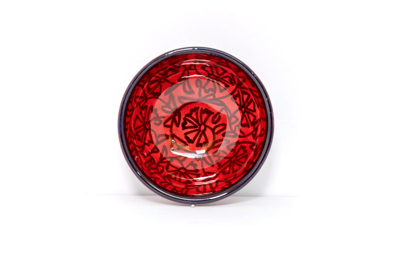 Red & Black Turkish Ceramic Bowl - Unique South Asian Home Decor