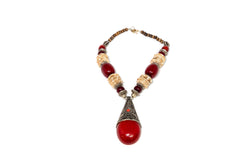 Large Red Stone and Metal Necklace - South Asian Fashion & Unique Home Decor