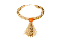 Cream and Orange Beaded Necklace - South Asian Fashion & Unique Home Decor