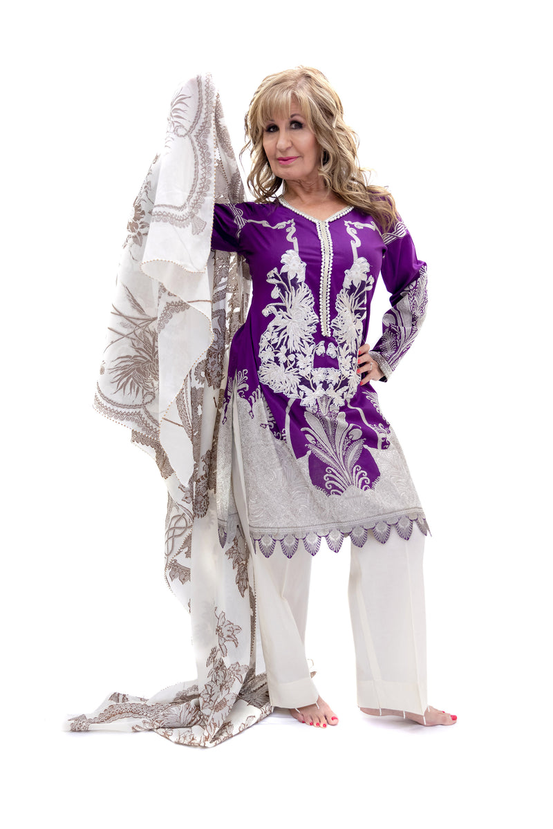 Purple Cotton Salwar Kameez - Sana Safinaz Suit - South Asian Fashion