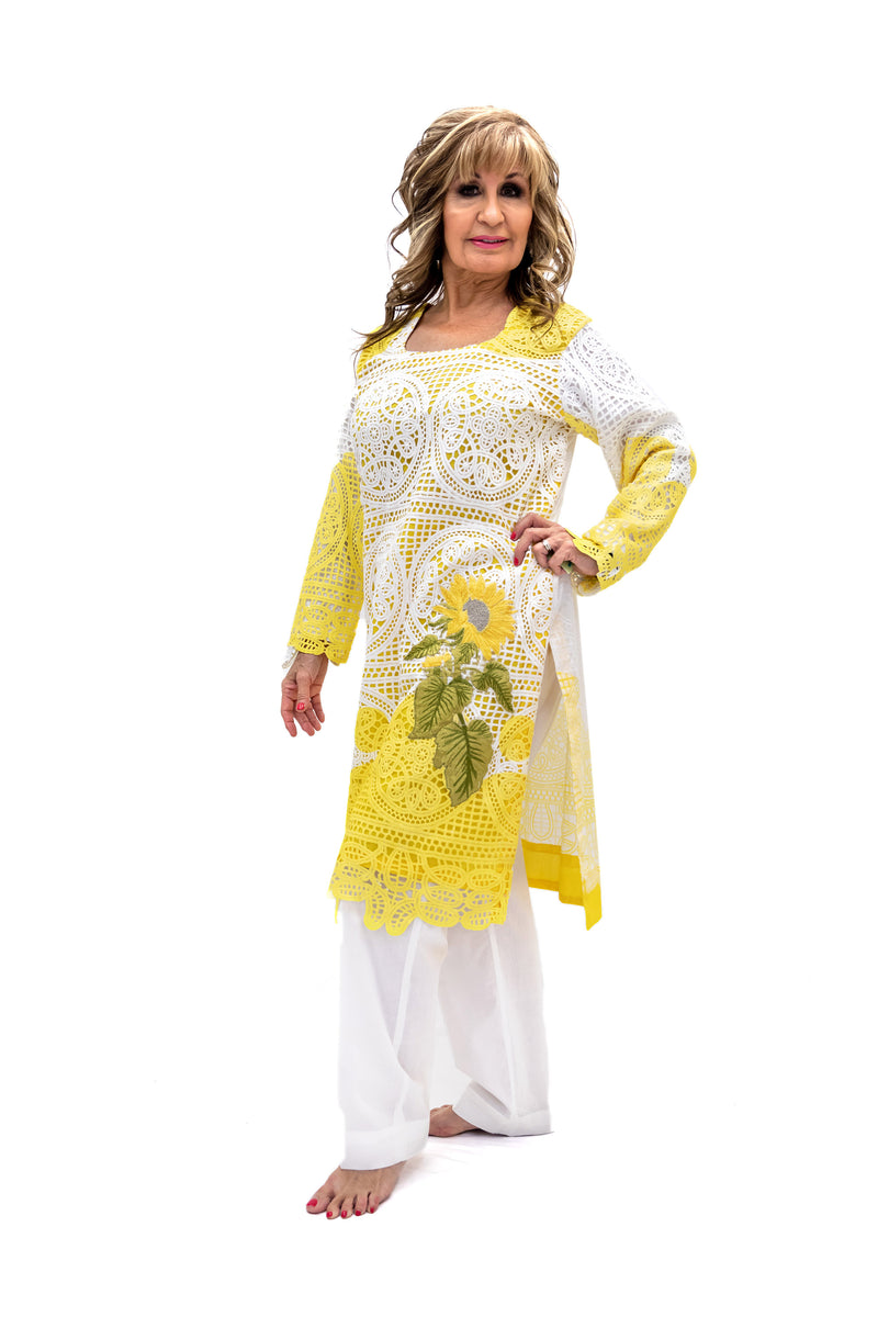 Yellow & White Cotton Salwar Kameez - Suit - South Asian Fashion