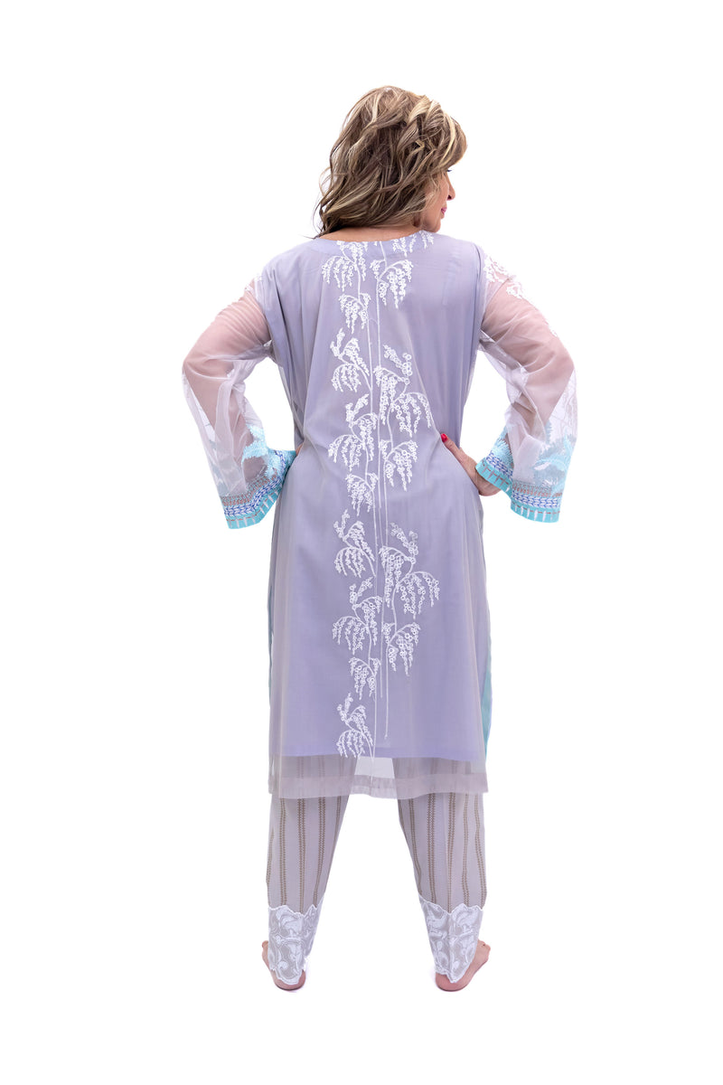 Lilac Purple Organza Salwar Kameez - Suit - South Asian Fashion