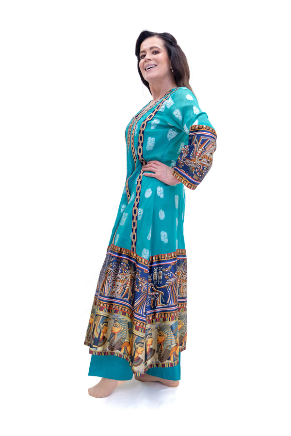 Turquoise Cotton & Silk Salwar Kameez - Suit - South Asian Fashion