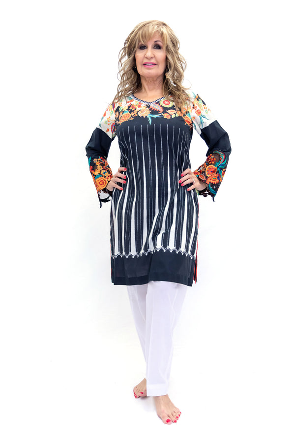 Black & White Salwar Kameez - Sana Safinaz Suit - South Asian Fashion