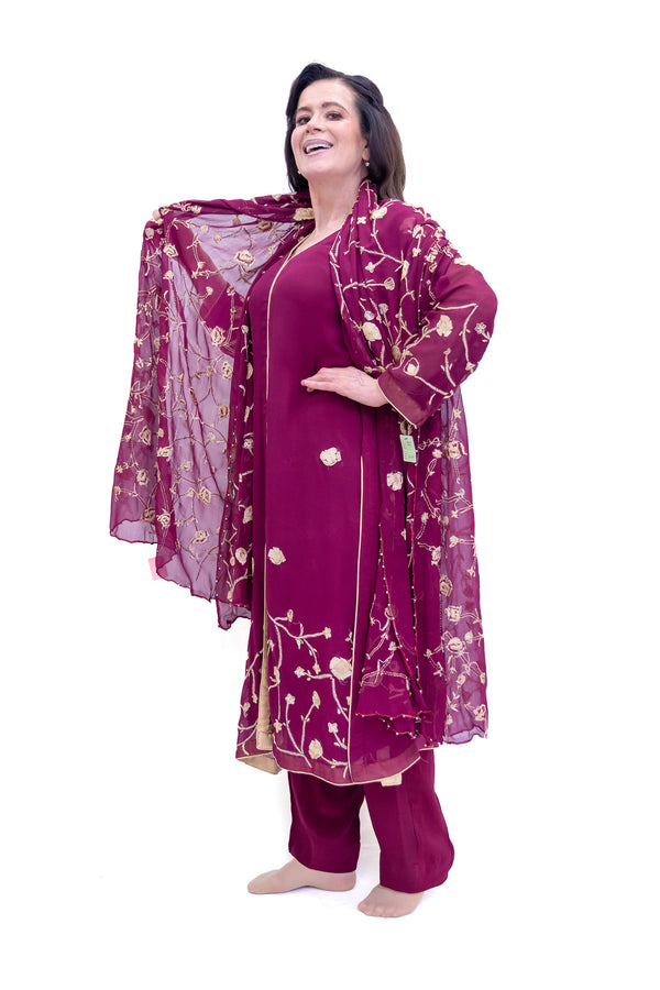 Purple Chiffon Suit - Asim Jofa - South Asian Fashion & Unique Home Decor