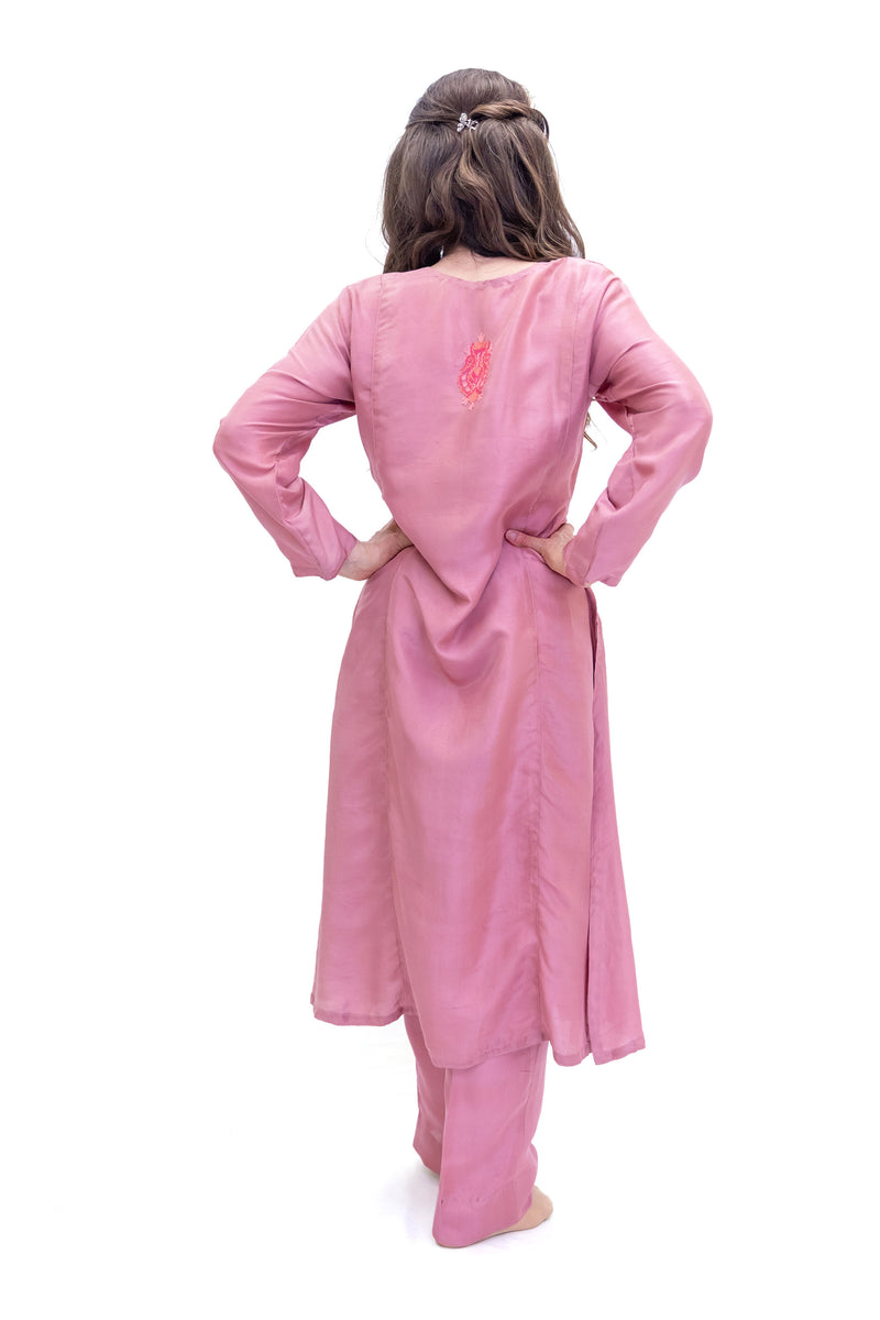 Blush Pink Silk Salwar Kameez - Kashmir Suit - South Asian Fashion