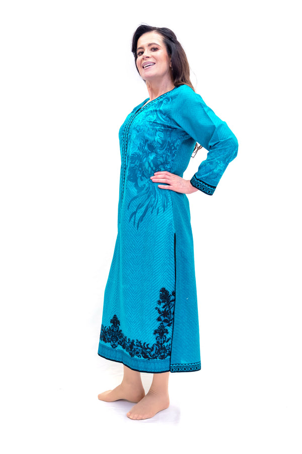 Blue Cotton Kurta - Shirt - Women's South Asian Fashion