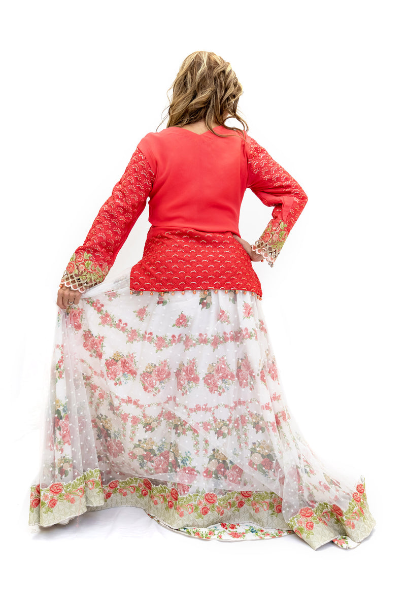 White Floral Lengha - Skirt - Women's South Asian Fashion
