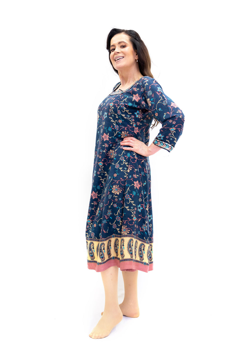 Blue Embroidered Long Sleeve Dress - Women's South Asian Fashion