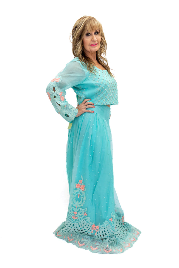 Net Teal Lengha & Long Sleeve - South Asian Fashion - Formal Wear